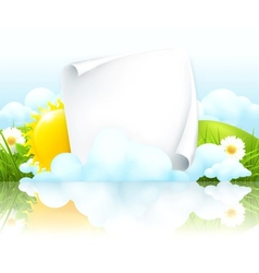 Paper frame in clouds vector image vector image