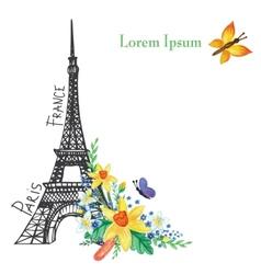 Paris spring cardEiffel towerWatercolor flowers vector image vector image
