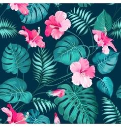 Tropical flower pattern vector