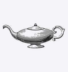 vintage tea pot engraving ephemeral vector image vector image