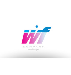 wf w f alphabet letter combination pink blue bold vector image vector image