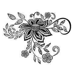 black and white floral pattern design element vector image vector image