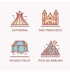 Brazilian culture linear icons set vector