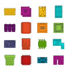 computer chips icons doodle set vector image vector image