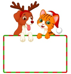 Cute cartoon cat and dog holding blank sign vector image