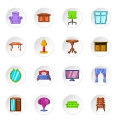 Furniture icons cartoon style vector image vector image