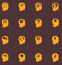 Head brain icons set vector image