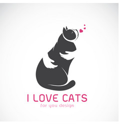 human hand that hugs the cat on white background vector image vector image