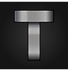 Letter metal chrome ribbon - T vector image