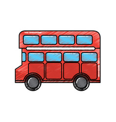 Red london double decker bus public transport vector