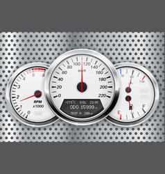 speedometer car dashboard on metal perforated vector image