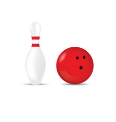 Bowling ball in red color and skittle vector