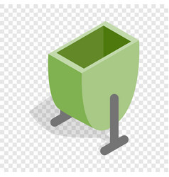 green trash outdoor bin isometric icon vector image