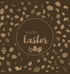 happy easter greeting card with chocolate vector image