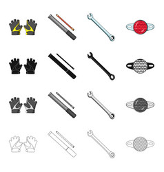 outfit protective gloves bicycle pump wrench vector image vector image