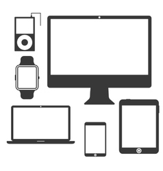 Set of Silhouette Devices vector image vector image