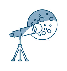Telescope observing the moon vector