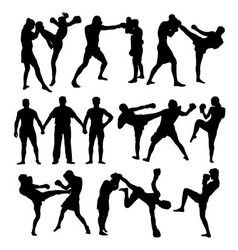 Thai Boxing Sport Silhouettes vector image