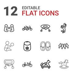 12 children icons vector