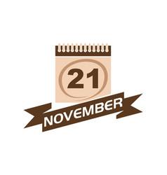 21 november calendar with ribbon vector image