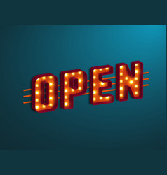 3d retro open sign vector image