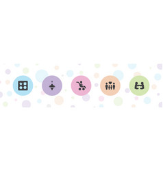 5 kid icons vector