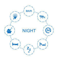 8 night icons vector