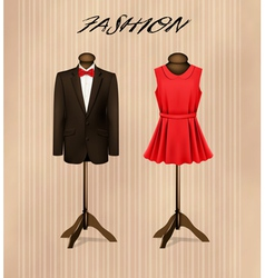 A suit and a retro formal dress on mannequins vector