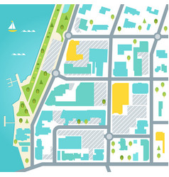 Abstract map coastal town area design vector