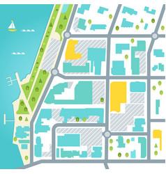 Abstract map of coastal town area design vector