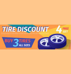 Advertisement offers car tire discount in workshop vector