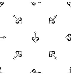 anchor pattern seamless black vector image