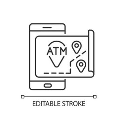 Atms map linear icon vector
