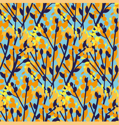 autumn color tree branch over blue sky pattern vector image