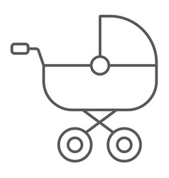 Baby carriage thin line icon child and pram vector