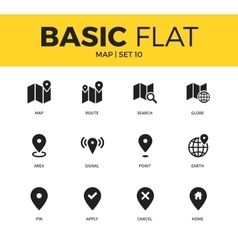 Basic set of map icons vector image