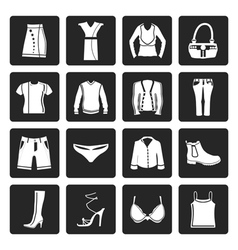 Black Clothing and Dress Icons vector
