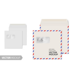 Blank square envelope with window on white vector