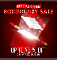Boxing day sale with gift box open promote poster vector