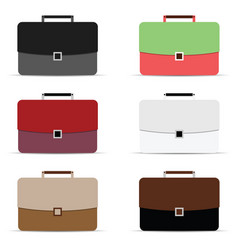 Briefcase icon in different color vector