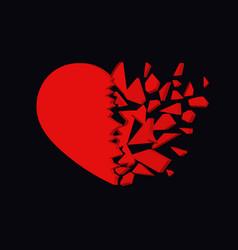 broken heart icon unhappy relationship sign vector image
