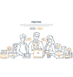 business meeting - modern line design style vector image