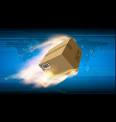 cardboard box with cargo is flying on fire vector image