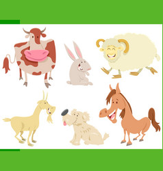 cartoon happy farm animal characters set vector image