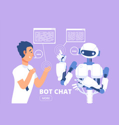 chatbot concept man chatting with chat bot vector image