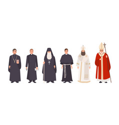 Collection of monks priests and religious leaders vector