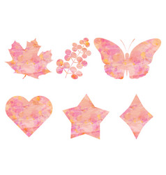 collection of objects watercolor pink background vector image
