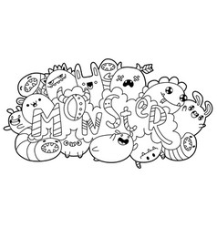 coloring book cartoon monsters vector image