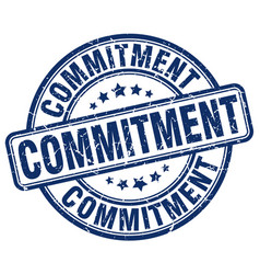 Commitment blue grunge stamp vector