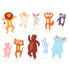 dancing animals animalistic character lion vector image
